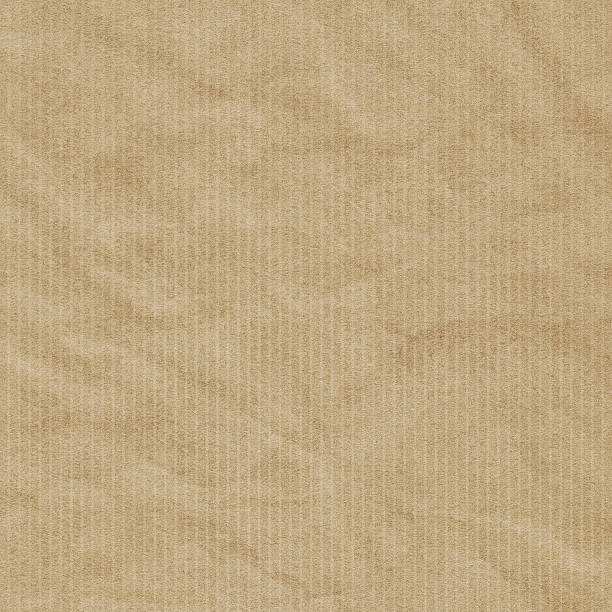 Hi-Res Recycled Striped Brown Kraft Wrapping Paper Crumpled Grunge Texture stock photo