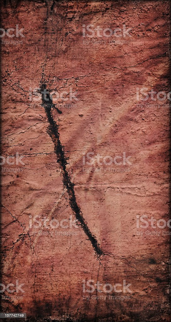 Hi-Res Red Primed Jute Canvas Cut Crushed Vignette Grunge Texture royalty-free stock photo