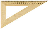 Hi-res wooden ruler with clipping path on white background