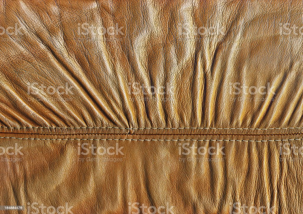 Hi-Res Yellow Veal Nappa Leather Patchwork Crumpled Wizened Grunge Texture royalty-free stock photo