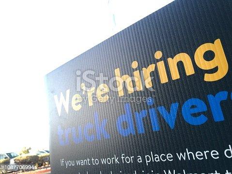 Hiring truck driver sign
