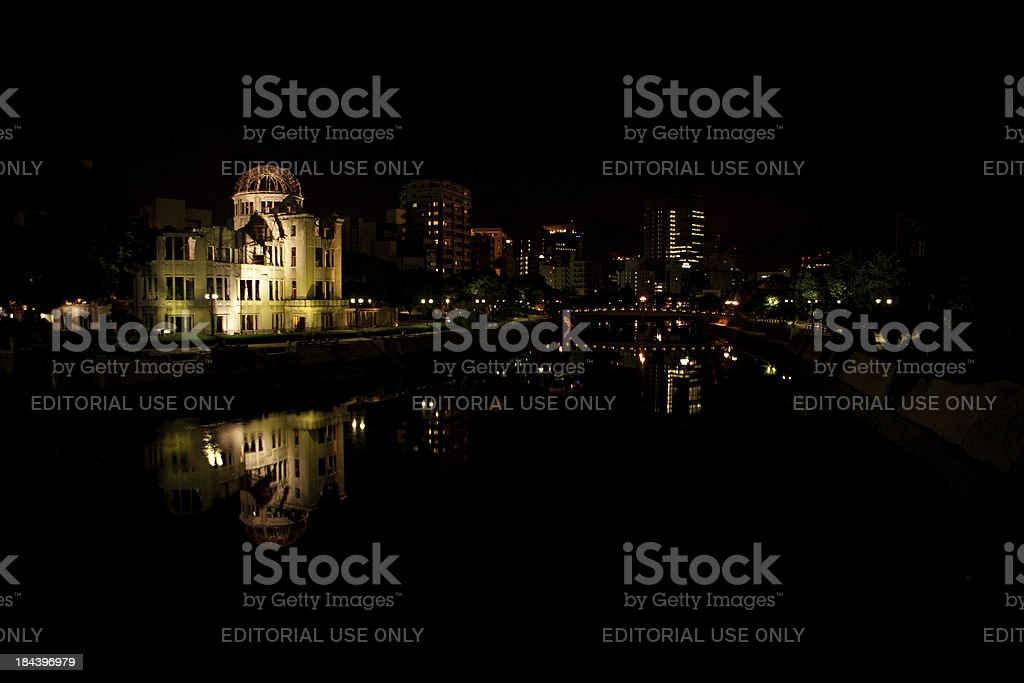 Hiroshima A-Bomb Dome (原爆ドーム), Twilight View royalty-free stock photo
