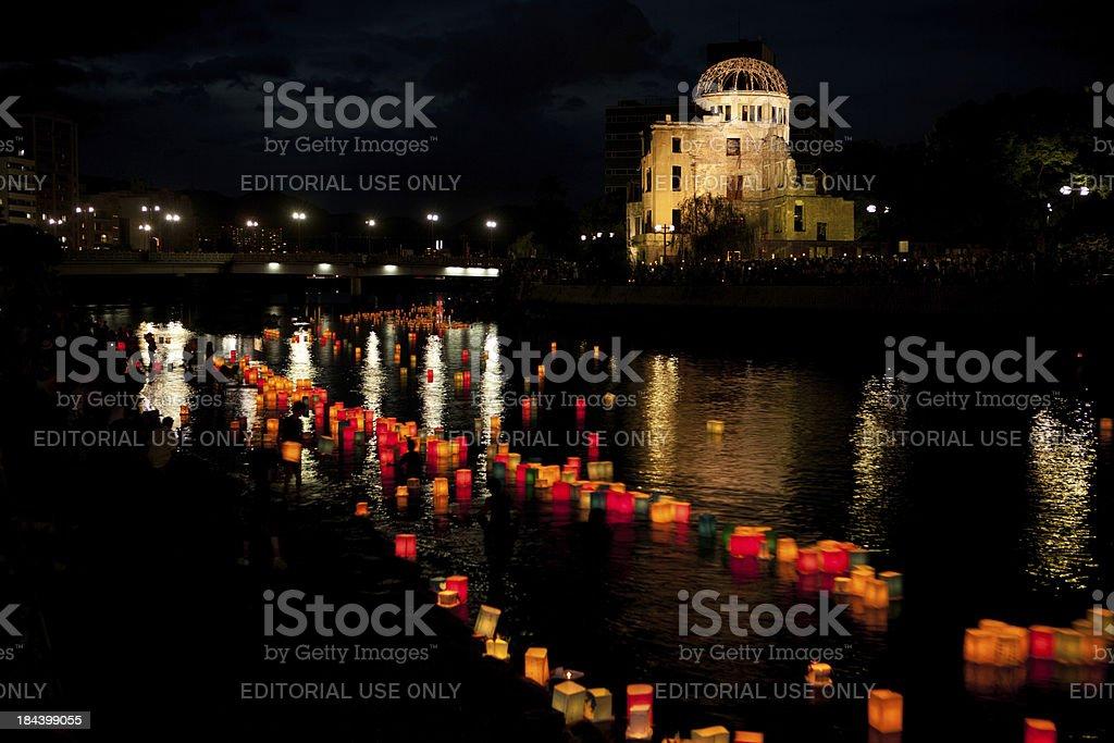 Hiroshima A-Bomb Dome (Genbaku Domu), Twilight View bildbanksfoto
