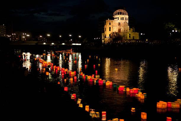 hiroszima genbaku a-bomb dome (home), zmierzch widok - hiroshima zdjęcia i obrazy z banku zdjęć