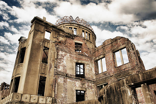 Hiroshima Atomic Dome The remains of the atomic dome at the Hiroshima Peace Memorial in Japan. hiroshima prefecture stock pictures, royalty-free photos & images