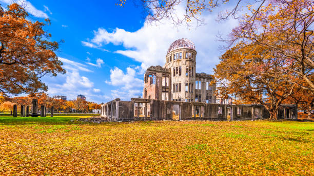 Hiroshima Atomic Dome Hiroshima, Japan at the Atomic Bomb Dome in autumn. hiroshima prefecture stock pictures, royalty-free photos & images
