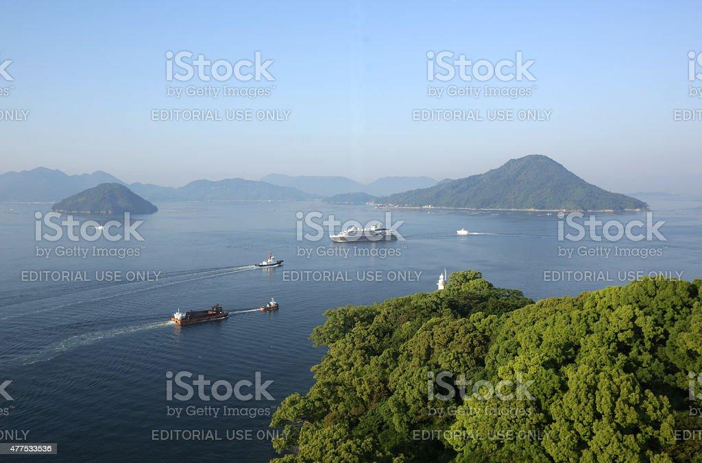 Hiroshima Bay, Seto Inland Sea, Japan on Spring Morning stock photo