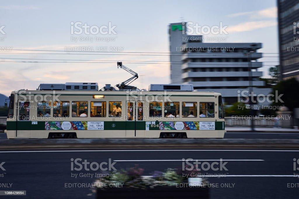 Hiroshima, Japan - July 2018 cable car at Twilight.