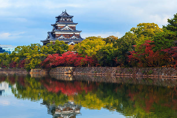 Hiroshima Castle Hiroshima, Japan - November 15 2013: Hiroshima castle built in 1589 by the powerful feudal lord Mori Terumoto, it was an important seat of power in Western Japan hiroshima prefecture stock pictures, royalty-free photos & images