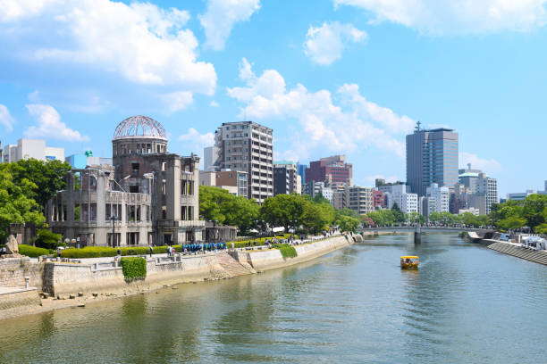 hiroshima city in atomic bomb day Hiroshima, Japan. 6th August, 2018: panoramic view of hiroshima city and famous atomic bomb dome, Japan hiroshima prefecture stock pictures, royalty-free photos & images