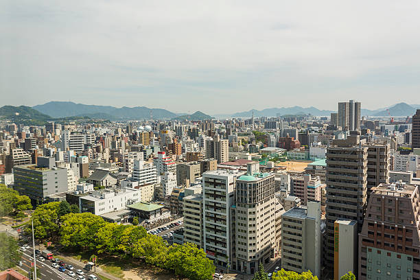Hiroshima Downtown Skyline Aerial Aerial view of the CBD skyline in downtown Hiroshima, Japan hiroshima prefecture stock pictures, royalty-free photos & images