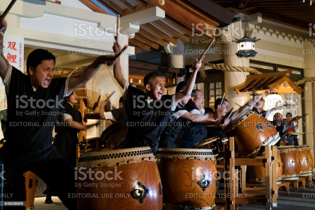 Hiroshima, Japan - Taiko drumming troupe performing at the Mantō Mitama Matsuri stock photo