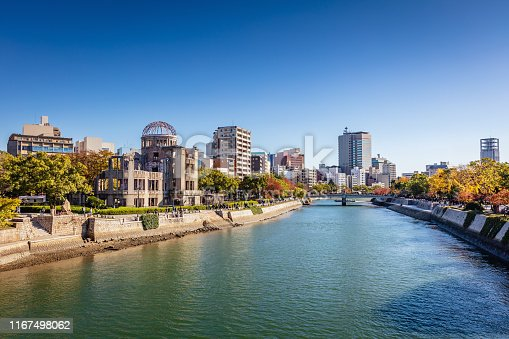 Hiroshima Cityscape on a Sunny Autumn Day. View over the Motoyasu River, Atomic Bomb Dome on the left side of the Motoyasu River. Naka Ward, Hiroshima, Japan, Asia.