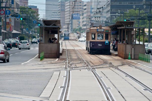 Hiroshima streetcar Hiroshima streetcar hiroshima prefecture stock pictures, royalty-free photos & images