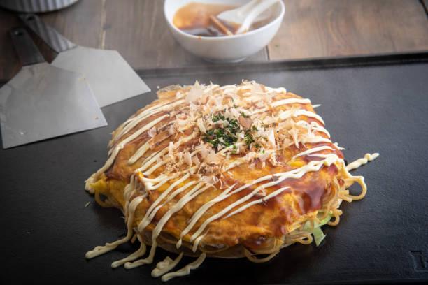 hiroshima style okonomi, japanese pancake stock photo
