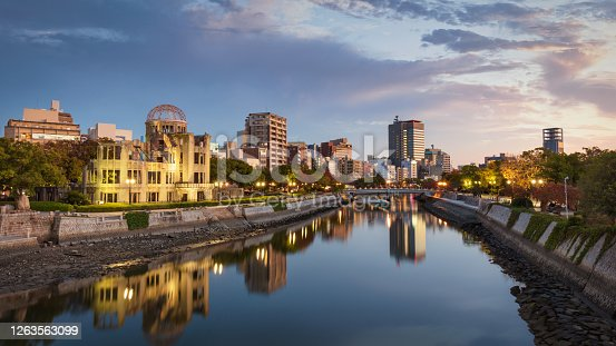 Hiroshima Atomic Bomb Dome Cityscape Panorama at Dusk Twilight. View over the River Ota close to Sunset. Buildings and Atomic Bomb Dome reflecting in the tranquil water of Ota River. Hiroshima, Japan, East Asia, Asia.