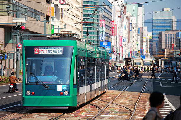 Hiroshima Tram Tram in Hiroshima. Need more HIROSHIMA images: hiroshima prefecture stock pictures, royalty-free photos & images
