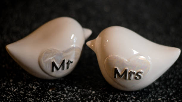 His and her wedding cake toppers stock photo