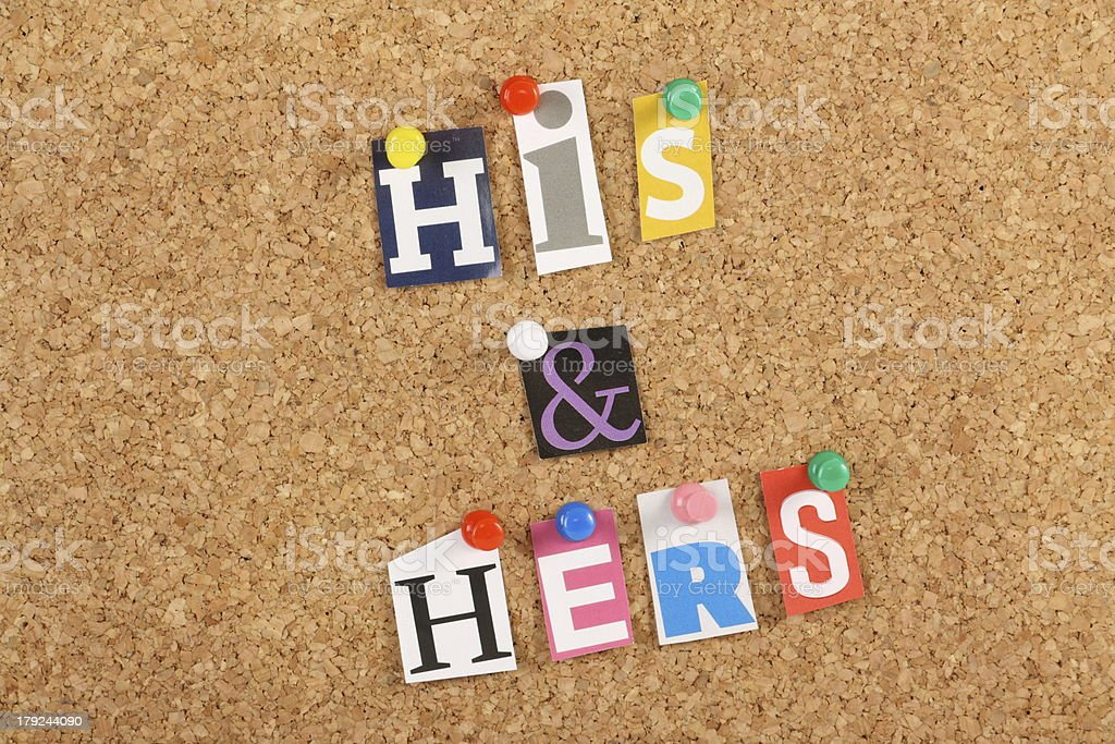 His and Hers royalty-free stock photo