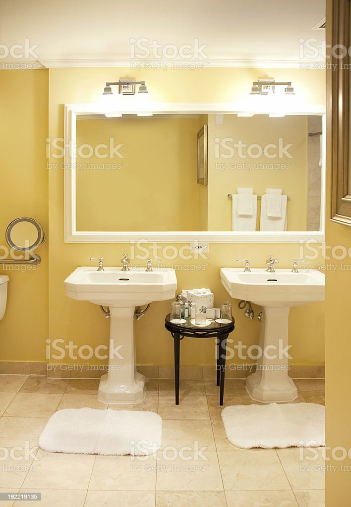 His and Hers vanity in an elegant bathroom stock photo