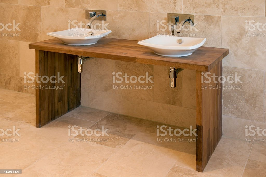 His and hers wash basins royalty-free stock photo