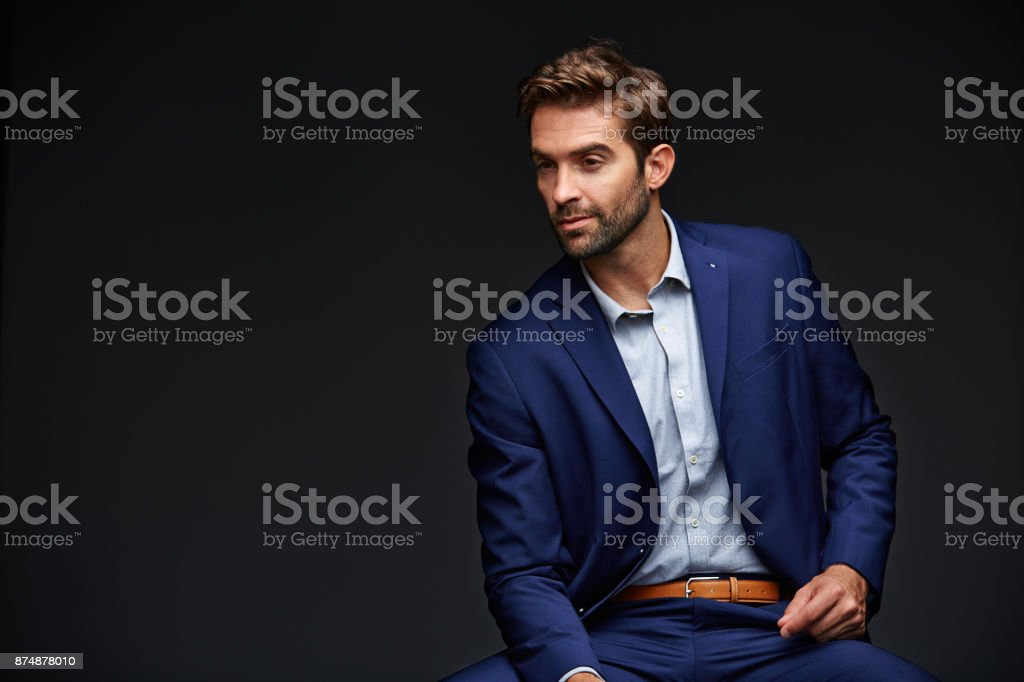 His business mind never stops working stock photo