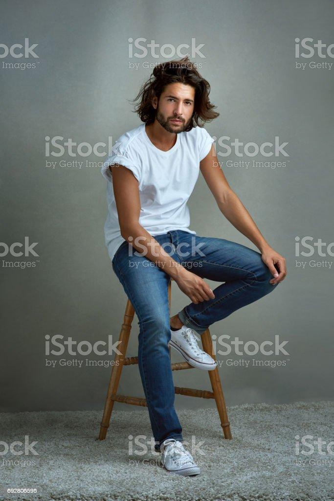 His charm captivates all stock photo