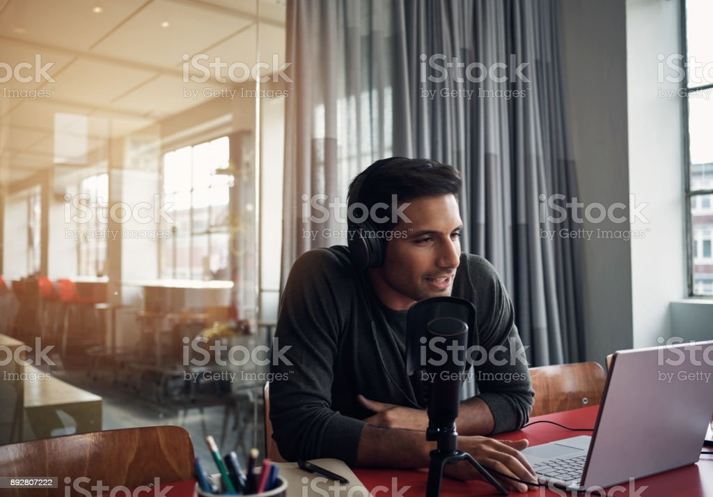 His company is joining the podcast craze stock photo