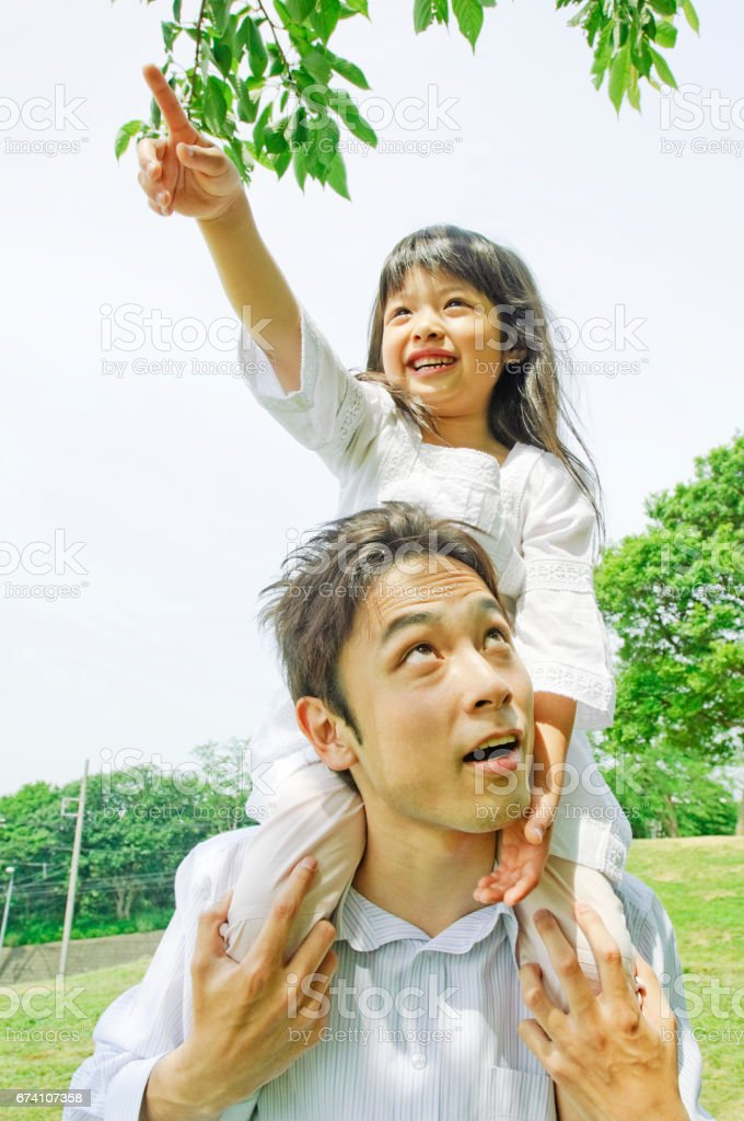 His father to hold on shoulder daughter in Park royalty-free stock photo