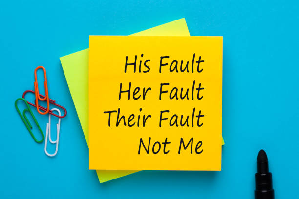 His Her Their and Not Me Fault His Fault Her Fault Their Fault Not Me. Blame shifting. guilty stock pictures, royalty-free photos & images
