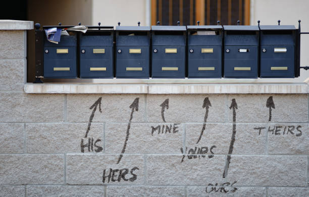 his, hers, mine, yours, and other pronouns stock photo