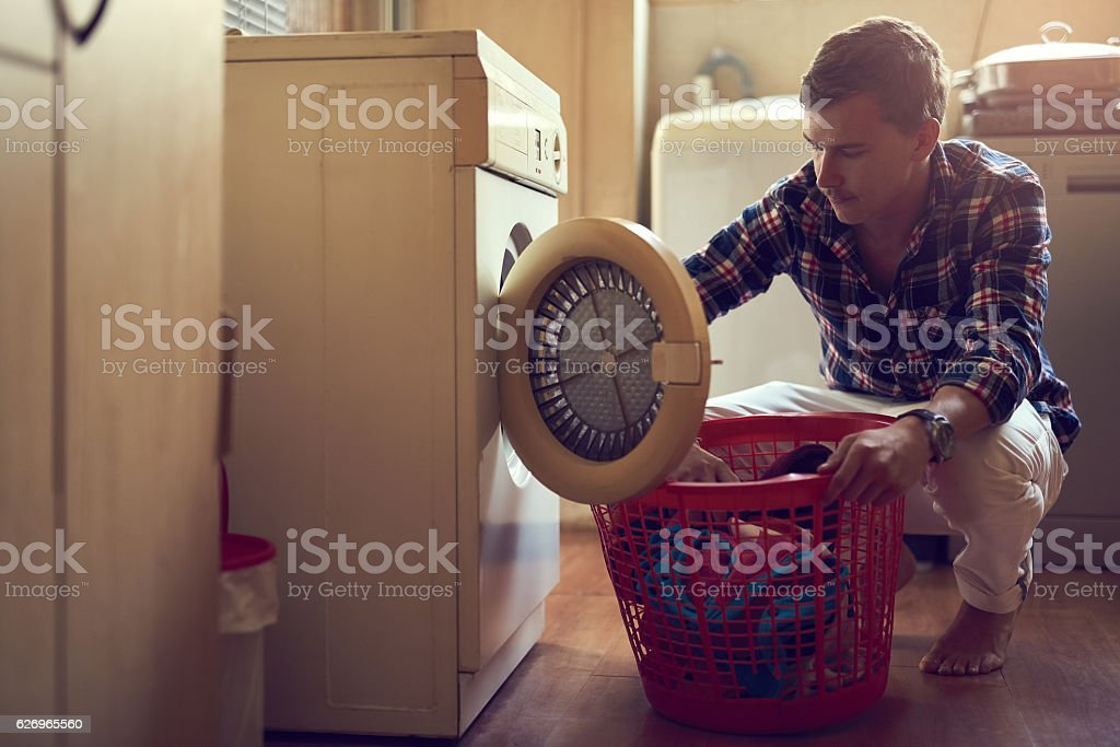His laundry game is strong stock photo