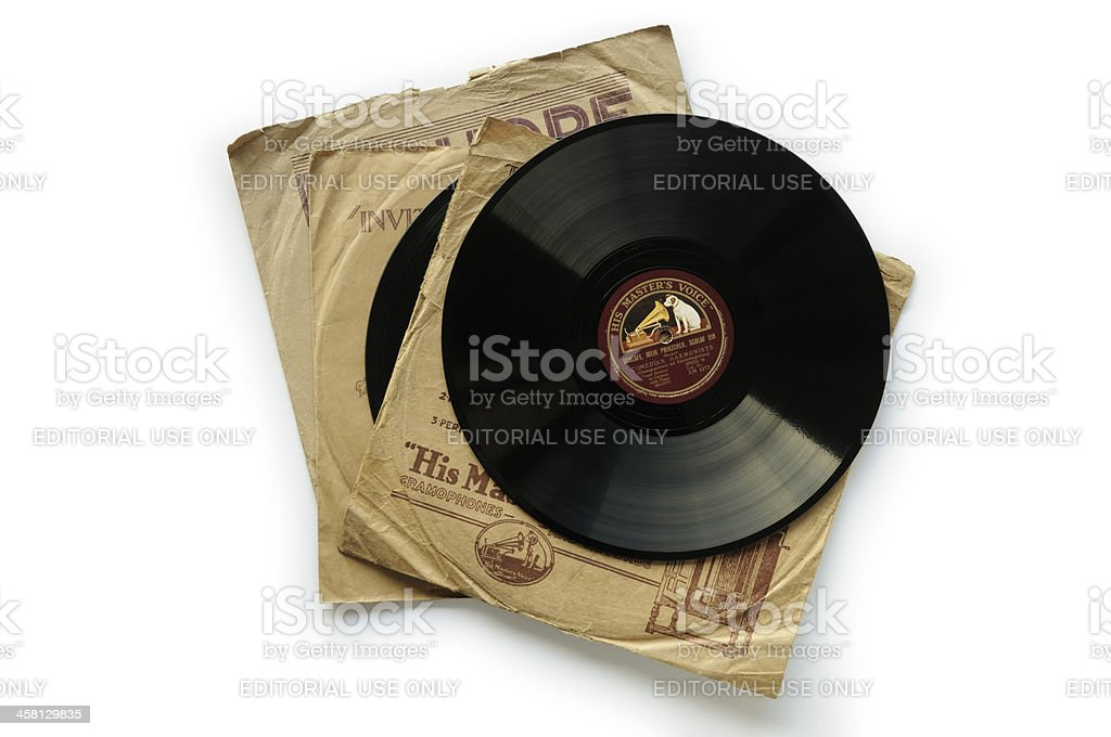 His Master's Voice record and sleeves stock photo
