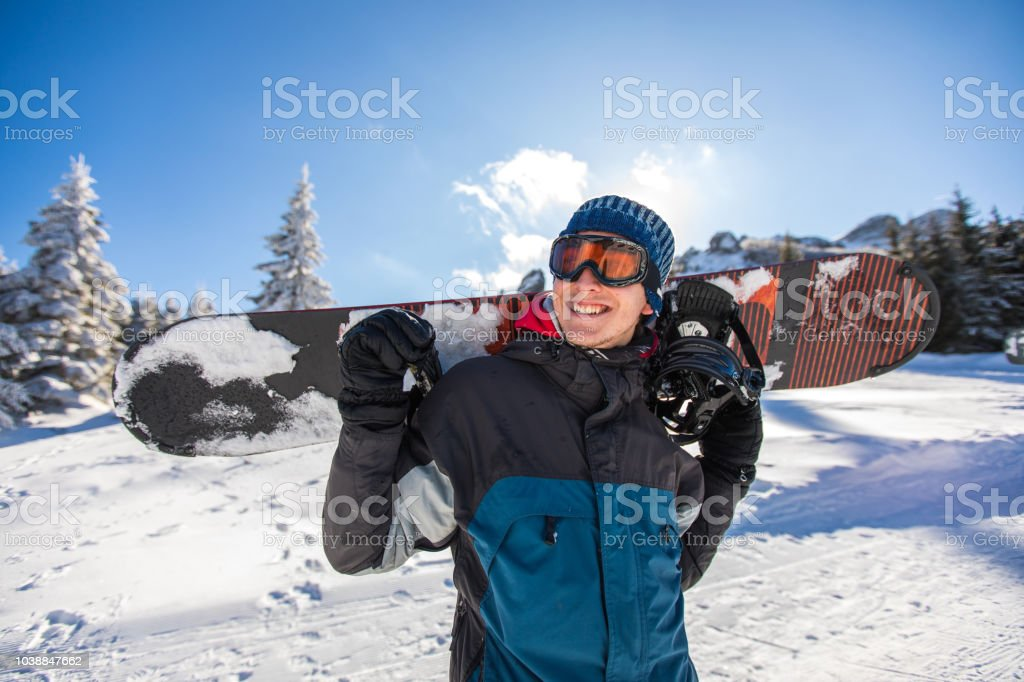 His passion is snowboarding stock photo