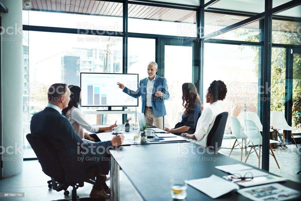 His presentations are always informative - foto stock
