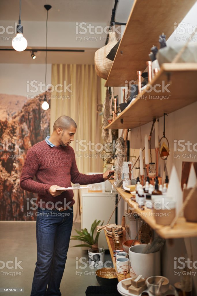 His products never reach their expiry date stock photo