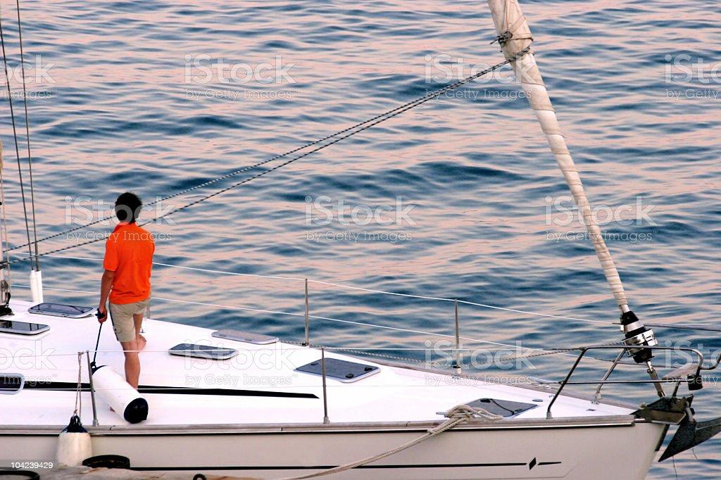 His Sailboat royalty-free stock photo