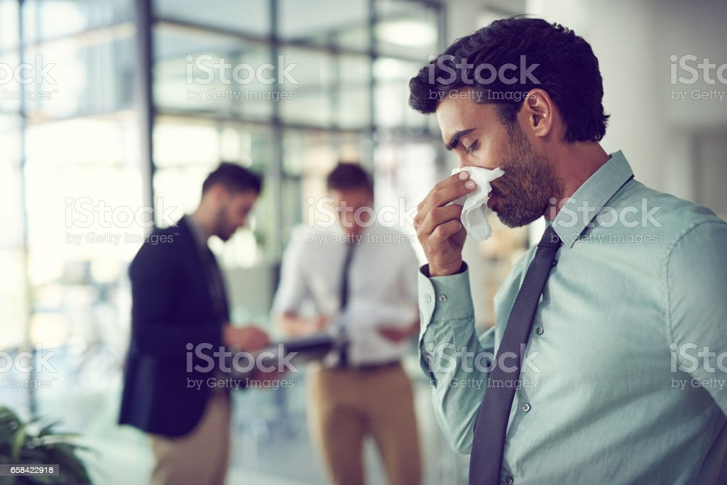 His sinuses are acting up stock photo