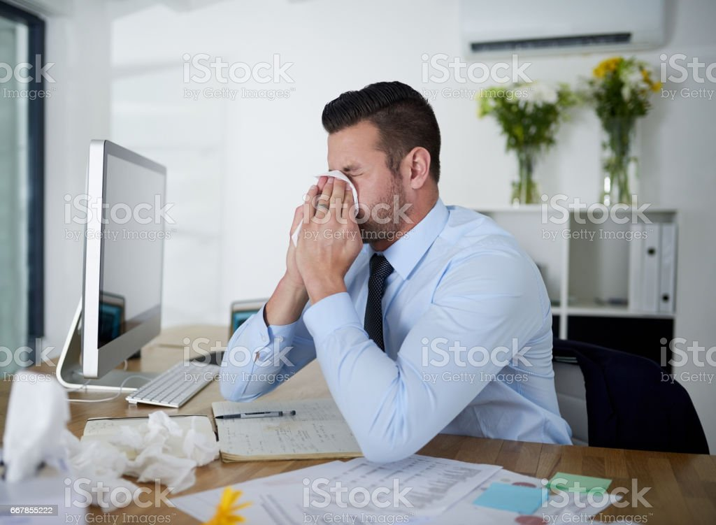 His sinuses are flaring up again stock photo