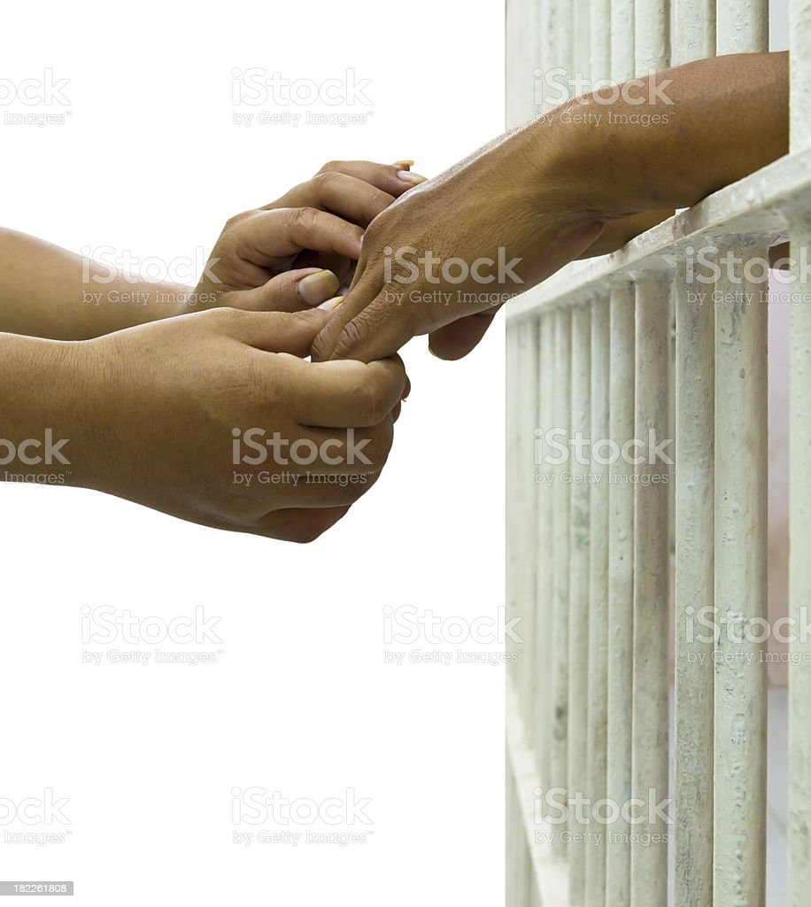 His wife convinces her husband trapped royalty-free stock photo