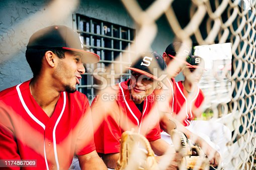 Relaxed young Hispanic baseball players photographed through fence while sitting in dugout and talking.