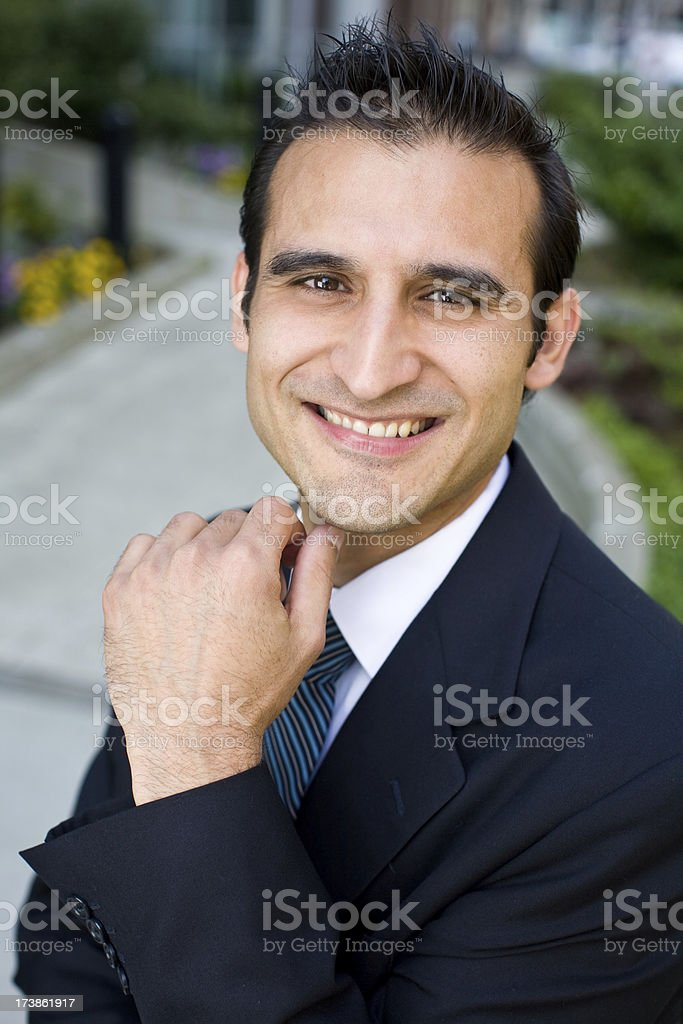 hispanic business man dowtown royalty-free stock photo
