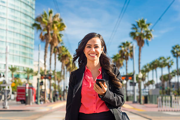 Hispanic Business Women Walking Downtown San Diego stock photo