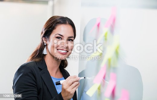 istock Hispanic businesswoman giving presentation at whiteboard 1096132696
