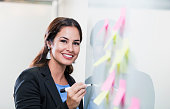 istock Hispanic businesswoman giving presentation at whiteboard 1096132696