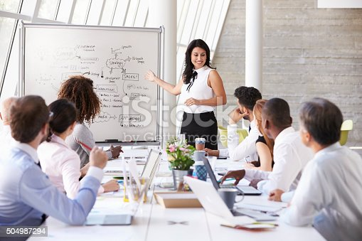 istock Hispanic Businesswoman Leading Meeting At Boardroom Table 504987294