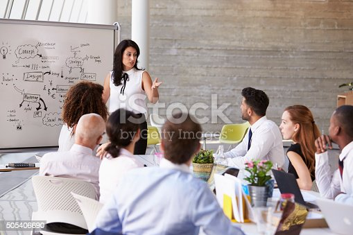 istock Hispanic Businesswoman Leading Meeting At Boardroom Table 505406690