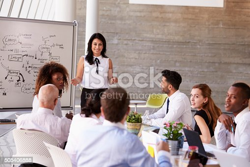 istock Hispanic Businesswoman Leading Meeting At Boardroom Table 505406888