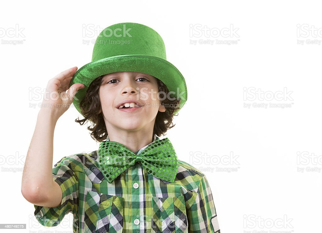 Hispanic Child Having Fun during St. Patrick's Day royalty-free stock photo