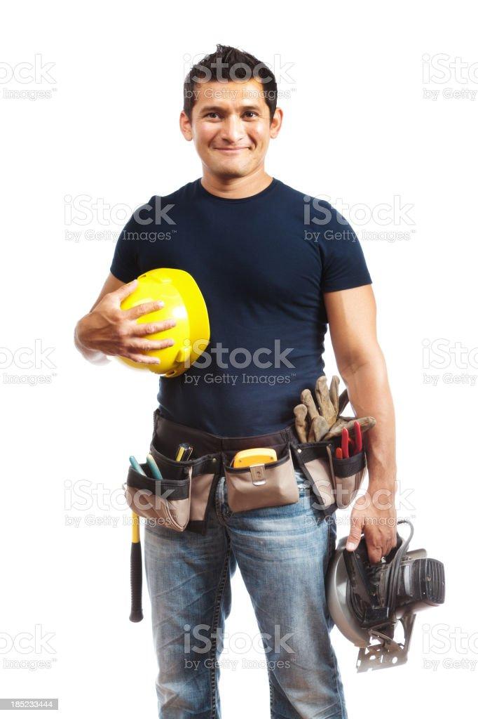 Hispanic Construction Worker, Latin American Man Holding Hard Hat, Tools royalty-free stock photo